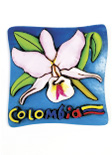 Imán Decorativo en Relieve: Orquídea Cattleya 1, flor nacional de Colombia / handcrafted decorative embossed magnet: cattleya orchid 1, national flower of Colombia